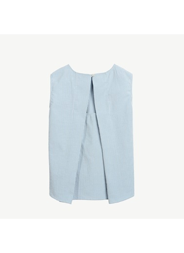 Yargıcı Cep Detaylı Kolsuz Bluz Ekru